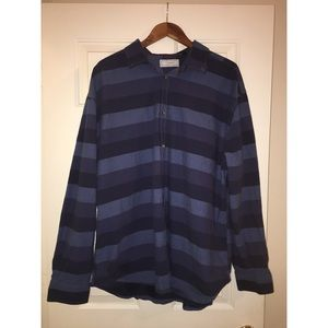 Five Four Blue Striped Long Sleeve Button Down